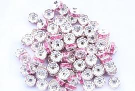 Zilver / Roze.   8 mm  10 voor.