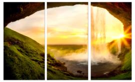 Zonsondergang IJsland: foto schilderij op canvas
