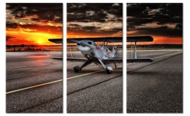 Tweedekker Vliegtuig Schilderij