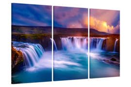 Sunset at Godafoss IJsland: canvas schilderij