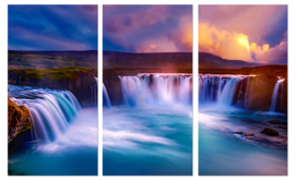 Sunset at Godafoss IJsland: canvas schilderij