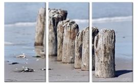 Schilderij Meerpalen Strand