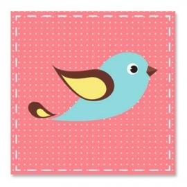 Vogeltje blauw roze