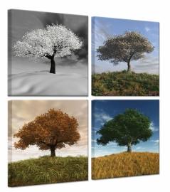 Seasons Vierluik op canvas