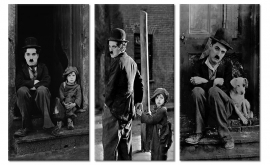 Canvas drieluik Charlie Chaplin