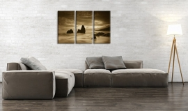 Canvas Schilderij Sepia Kust