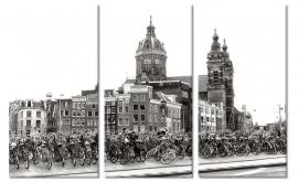 Schilderij Fietsen in Amsterdam