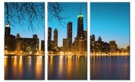 Groot drieluik canvas Chicago
