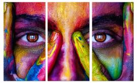 Kleurrijk gezicht: foto schilderij op canvas