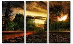 landschap schilderij zonsondergang spoor