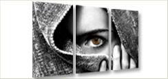 3 luik foto schilderij vrouw met sluier op canvas