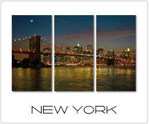 new york canvas drieluik