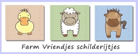 babykamer schilderijtjes farm vriendjes boerderijdieren