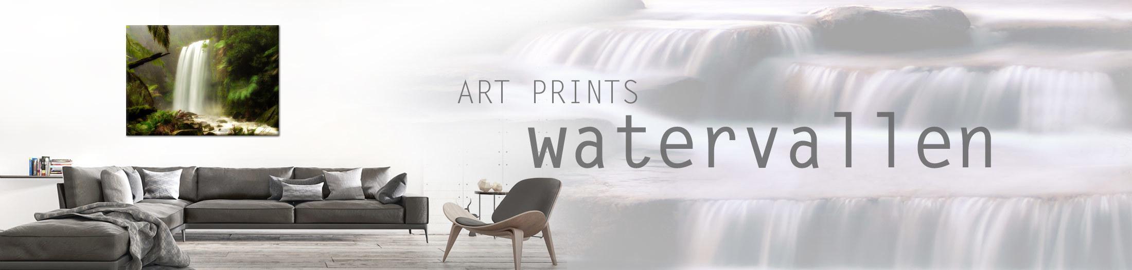 Waterval op canvas doek