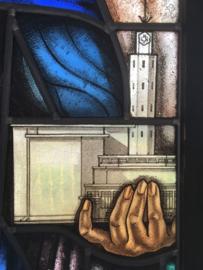 Max Nauta, Glas in lood raam, herkomst NCRV gebouw te Hilversum