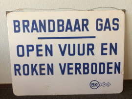Emaille bord, brandbaar gas