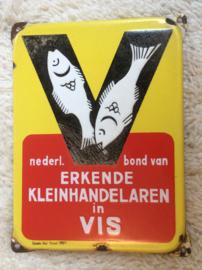 Emaille reclamebord, Nederl. bond van Erkende Kleinhandelaren in Vis