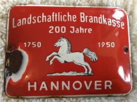 """Emaille Reclamebord """"Landschaftliche Brandkasse""""Hannover"""
