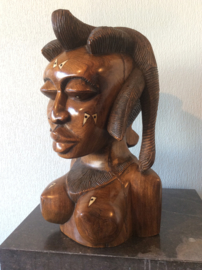 Large African ethnic tribal carved hardwood bust with bone inlay Queen