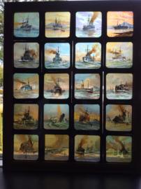 Toverlantaarn plaatjes van schepen, in frame, 20x