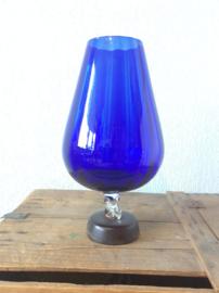 Design glas bokaal met vertikale ribben
