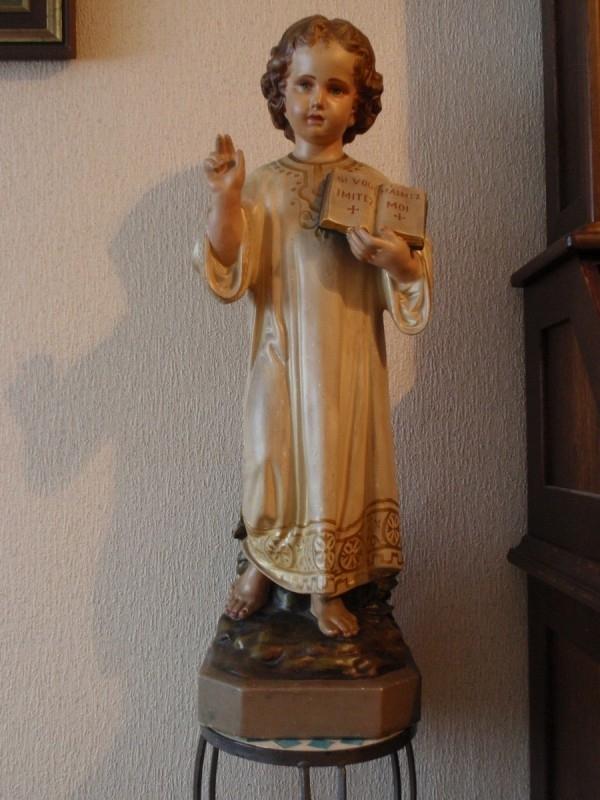 Polygroom beschilderde gipsen sculptuur van Christus ca 1900