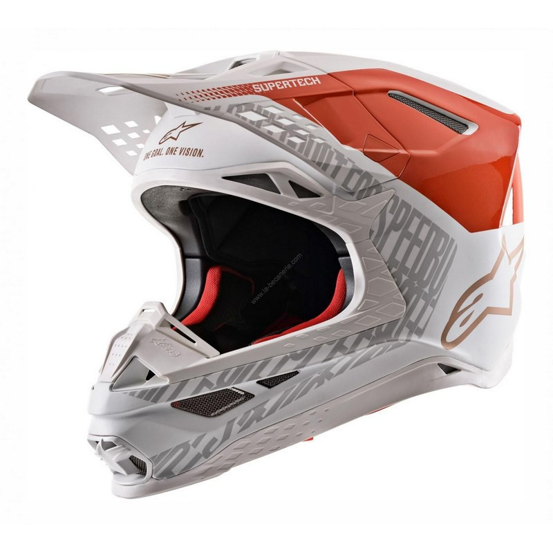Alpinestars Supertech M8 Triple Helmet Orange White Gold Matt Glossy