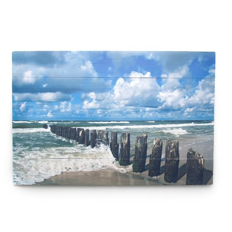 Strandschilderij wolken water