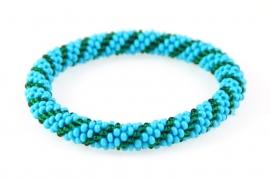Armbandje blauw - donker groen streepje