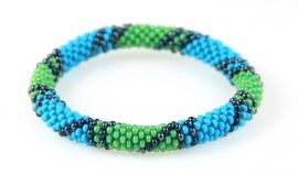 Armbandje groen - blauw - streepje