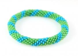 Armbandje blauw - licht groen