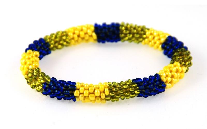 Armbandje groen geel blauw