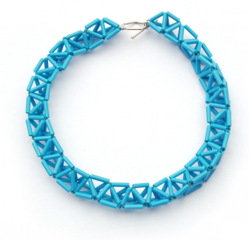 Big Twist Necklace / aqua blauw