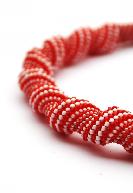 Twisting Necklace rood/wit