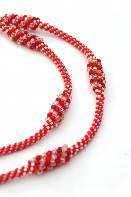 Long Twisted Necklace - rood/wit