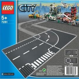 Lego 7281 Wegenplaten T-kruising en bocht - Lego City
