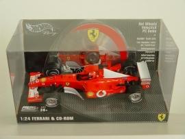 Ferrari F2002 M. Schumacher met cd rom - Hotwheels 1:24