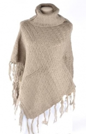 Poncho met col taupe