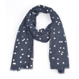 Sjaal 'zilver dots' blauw