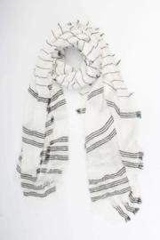 Sjaal zwarte strepen wit