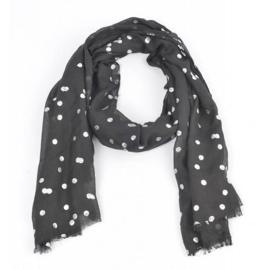 Sjaal 'zilver dots' zwart