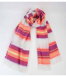 Sjaal gestreept roze