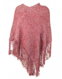 Poncho bordeaux rood met glitters