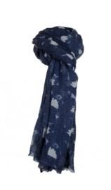 Sjaal met figuurtjes blauw