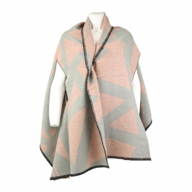 omslagdoek met armsgaten pink/grijs