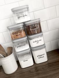 Set van 7 stickers - Bak ingrediënten (zelf invullen)