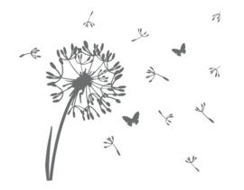 Sticker bloem met vlindertjes