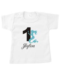 Shirt  zeemeermin met cijfer en naam naar wens