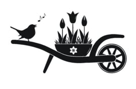 Sticker kruiwagen met vogel