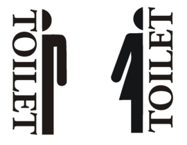 Stickerset toiletmannetje en vrouwtje